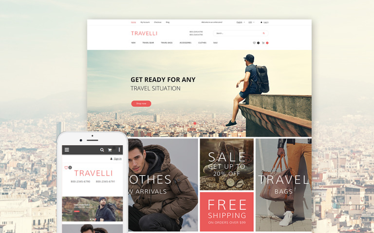 Travelli - Travel Equipment & Tourist Gear Magento Theme New Screenshots BIG
