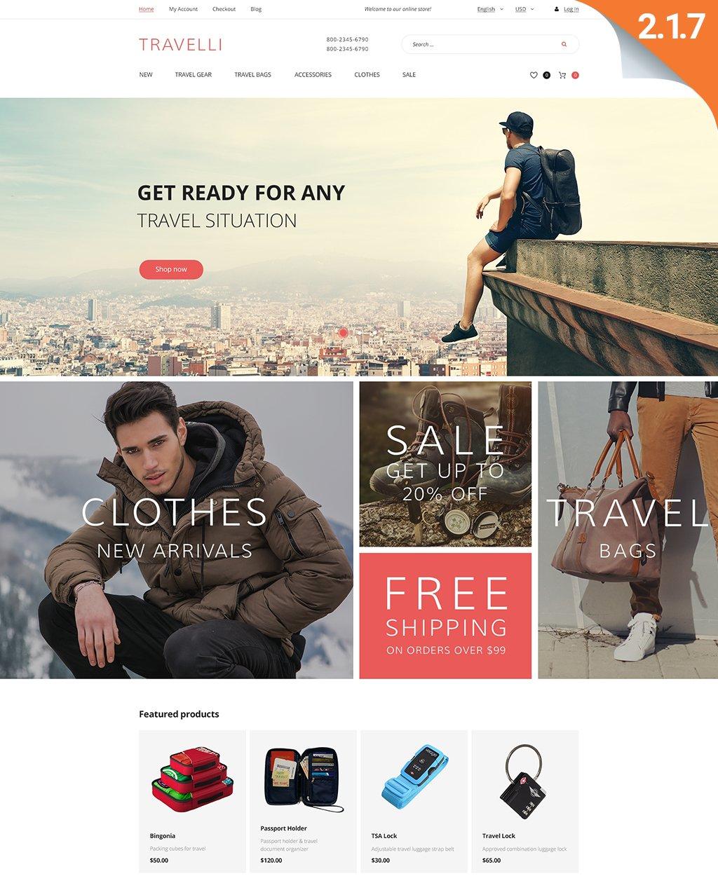 Travelli - Travel Equipment & Tourist Gear Magento Theme - screenshot