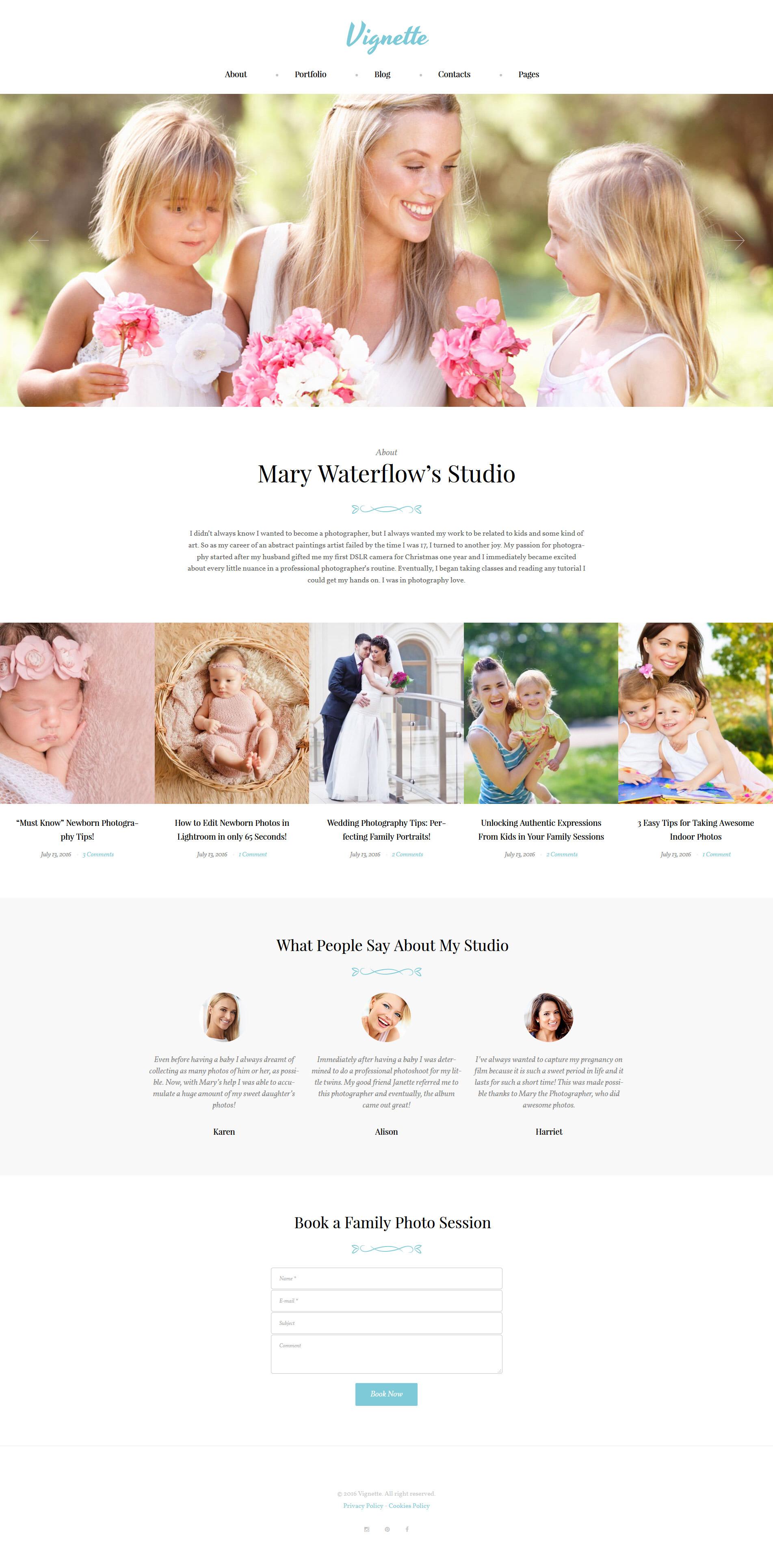 """Vignette - Family Photographer & Portfolio"" - адаптивний WordPress шаблон №62019"
