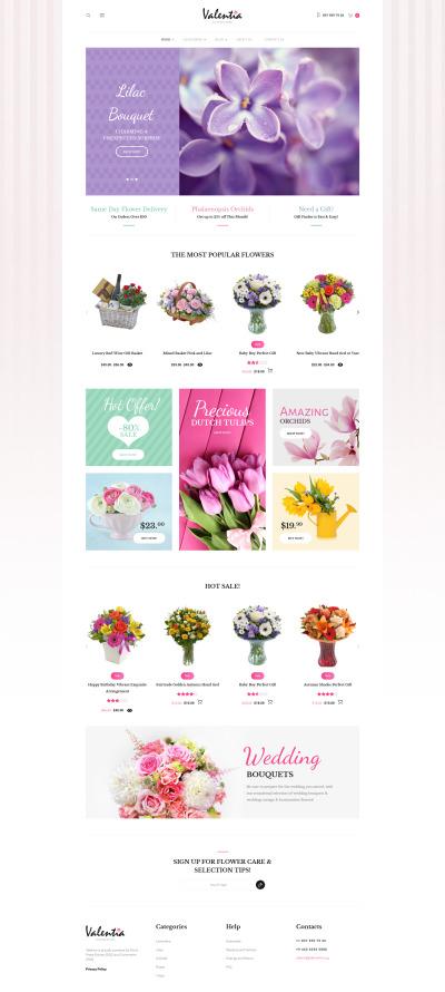 """WooCommerce шаблон """"Valentia - цветочный магазин"""" #62046"""