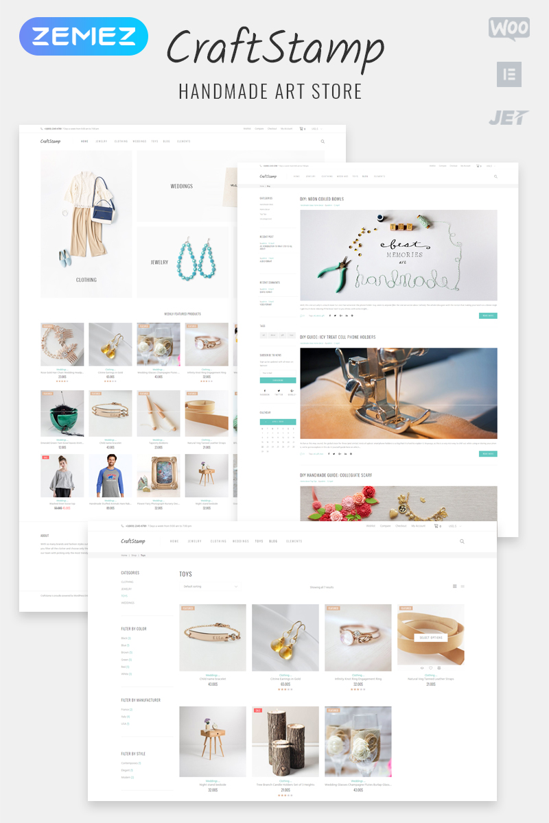 "WooCommerce Theme namens ""Craftstamp - Handmade Art Store Elementor"" #62051"