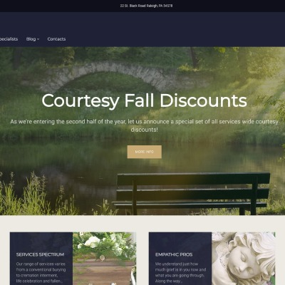 "WordPress шаблон ""Ashton - Funeral & Cemetery Services WordPress Theme"" #62025"