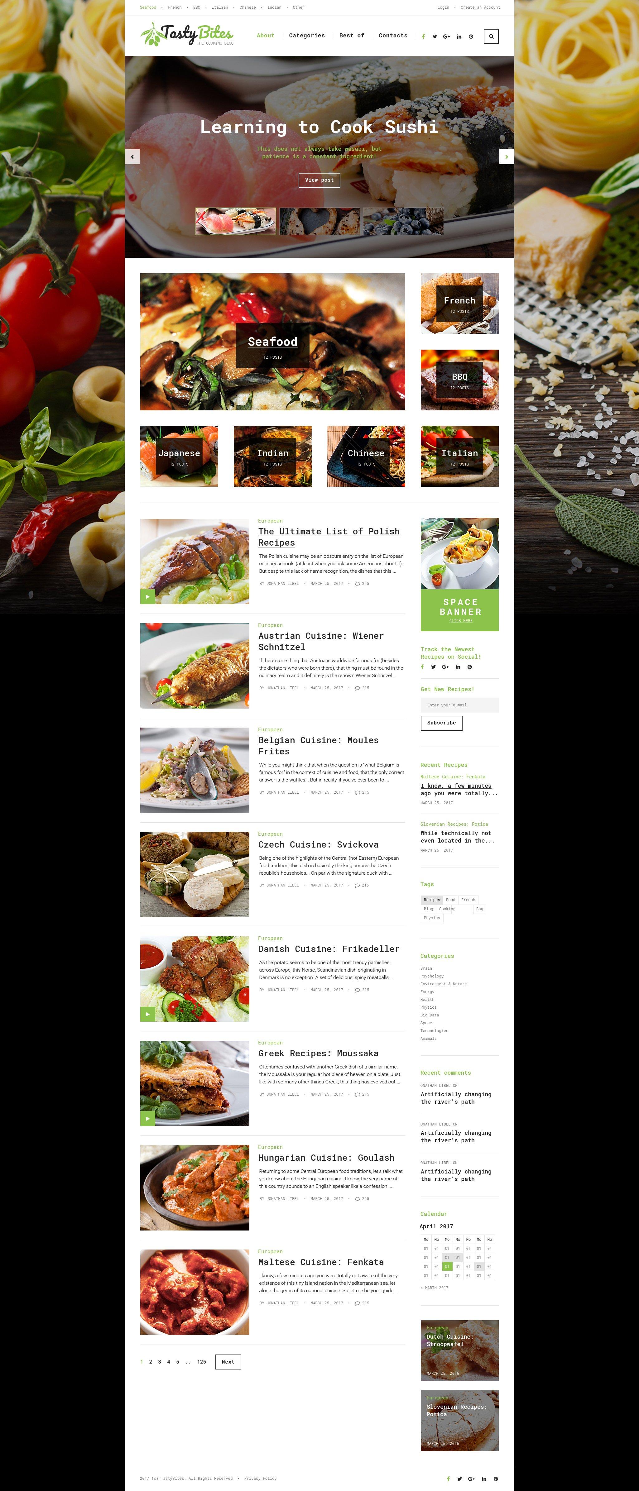 Шаблон TastyBites для кулинарного сайта #62036