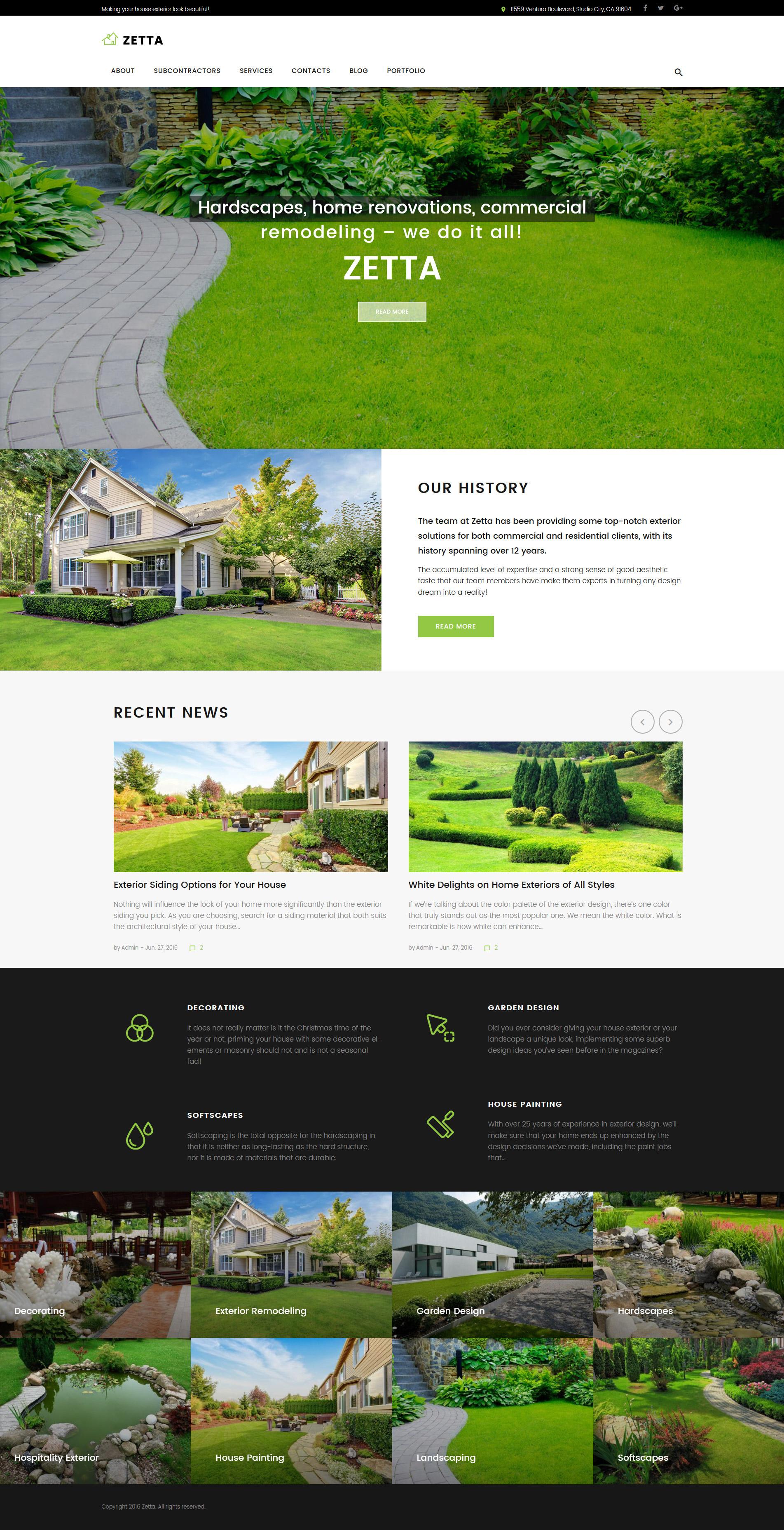 """Zetta - Exterior, Garden & Landscape"" - адаптивний WordPress шаблон №62031 - скріншот"