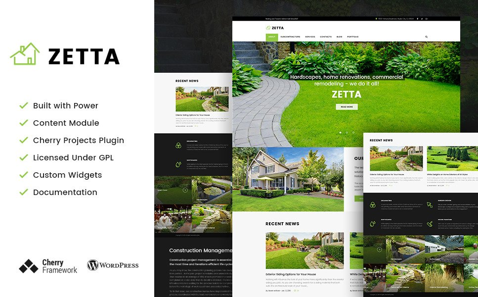 Zetta - Exterior, Garden & Landscape WordPress Theme New Screenshots BIG