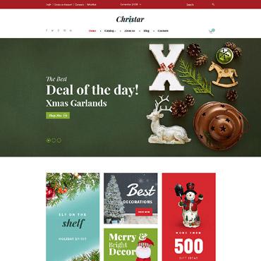 Купить Шаблон интернет магазина новогодних подарков - Christar. Купить шаблон #62136 и создать сайт.
