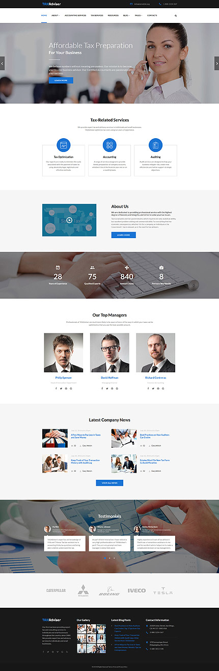 TaxAdviser Accounting And Tax Services Company Responsive - Tax website templates