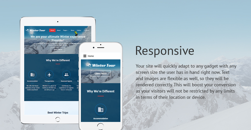 Winter Tour - Travel Agency Responsive Joomla Template