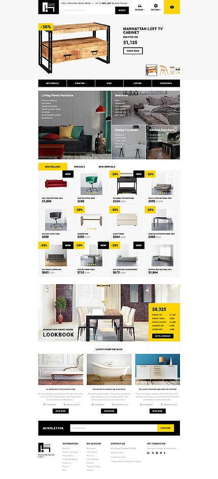 Custom Website Design Template #62166 -  furniture profile company designers work team