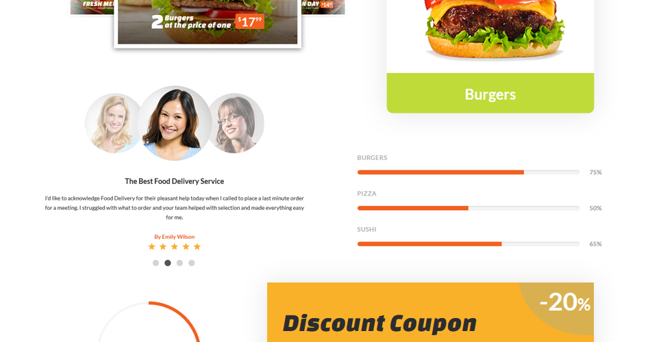 food ordering service website template. Black Bedroom Furniture Sets. Home Design Ideas