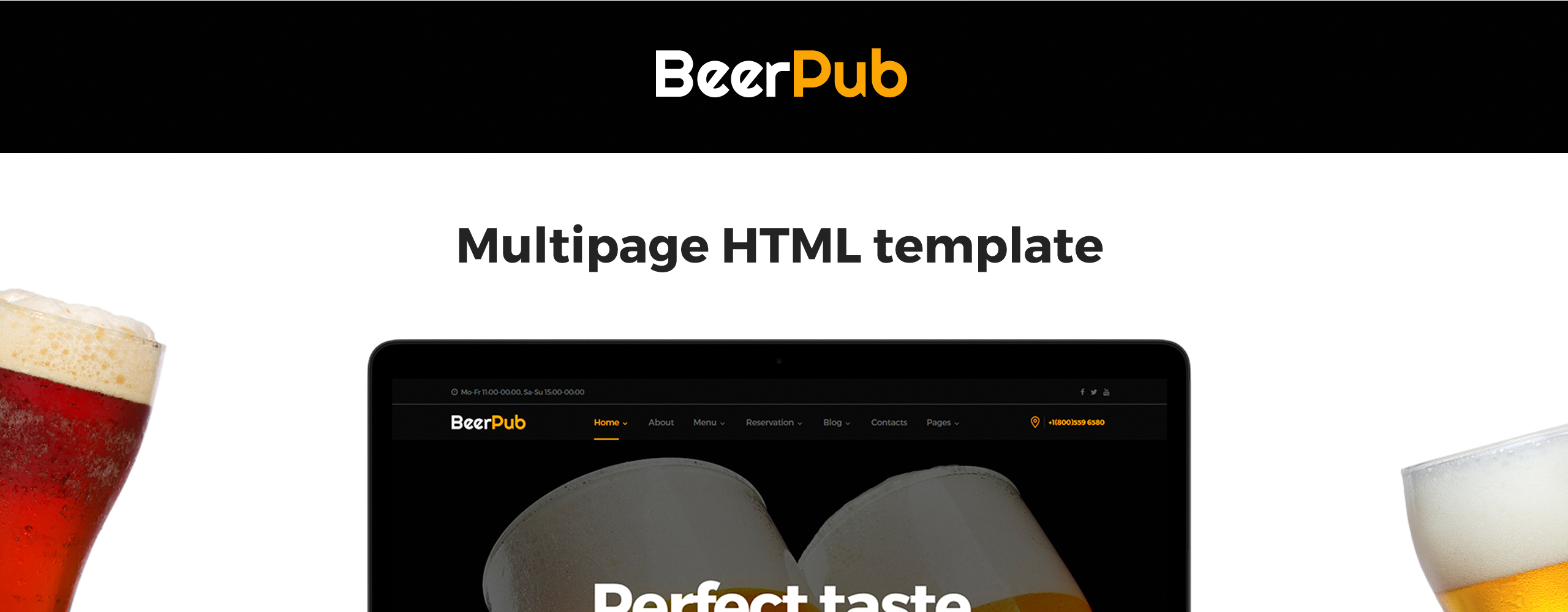 BeerPub - Food and Restaurant Multipage Website Template