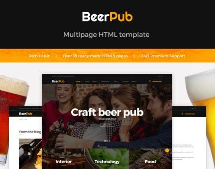 BeerPub - Food and Restaurant Multipage Website Template
