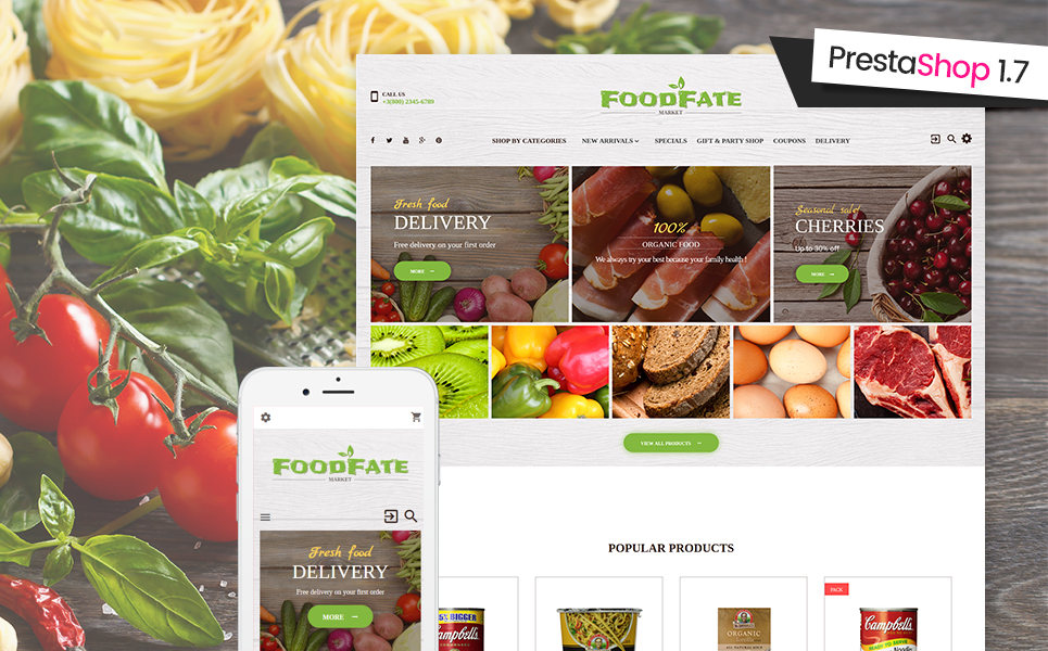 Website Design Template 62186 - production fresh beverage psd template wine cake cakes feast tasty delicious gourmet vegetables fruits
