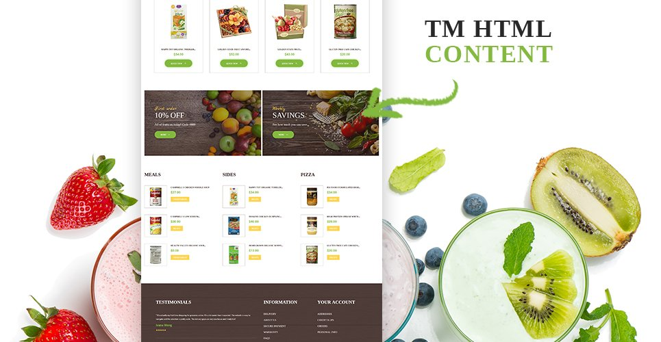 Website Design Template 62186 - vegetables fruits