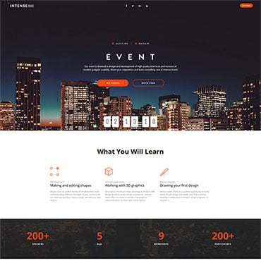Preview image of Intense - Event Planner HTML5