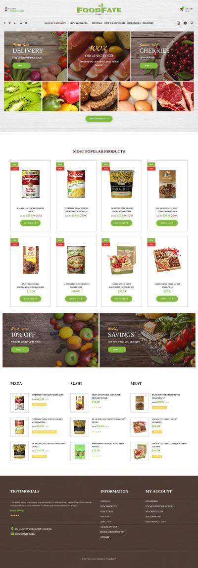 Адаптивный PrestaShop шаблон №62178 на тему магазин еды #62178