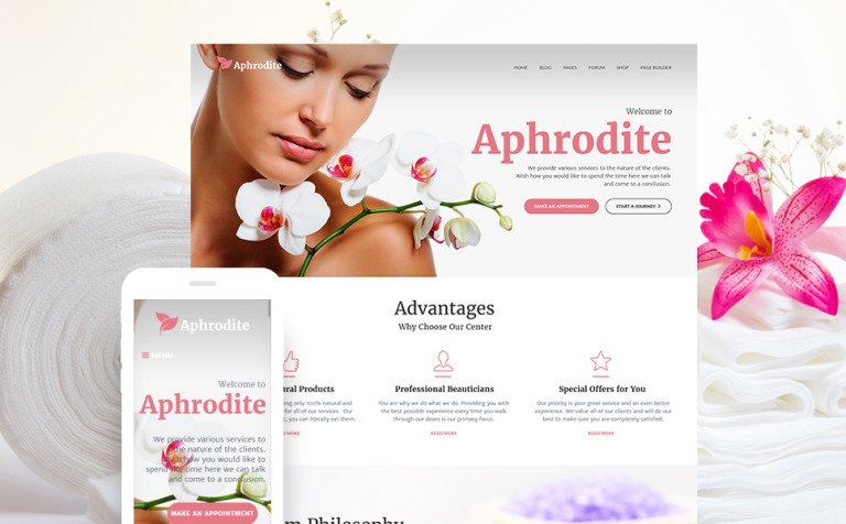 Aphrodite Beauty Spa Salon Responsive WordPress Theme New Screenshots