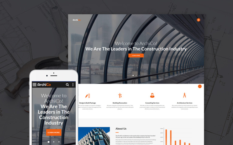 ArchiCo - Construction Company Responsive Multipage Website Template New Screenshots BIG