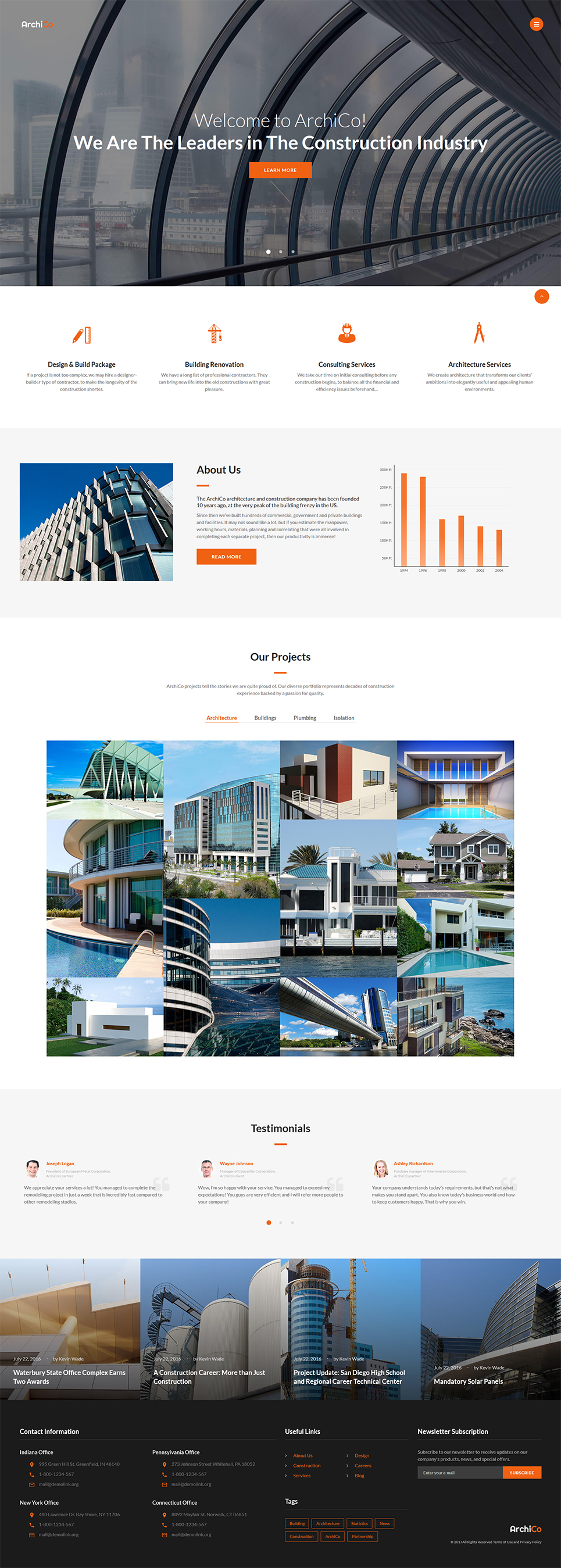 ArchiCo - Construction Company Responsive Multipage Website Template - screenshot