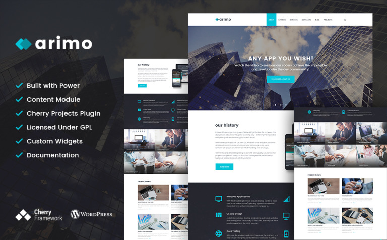 Arimo - Software and App Development WordPress Theme New Screenshots BIG