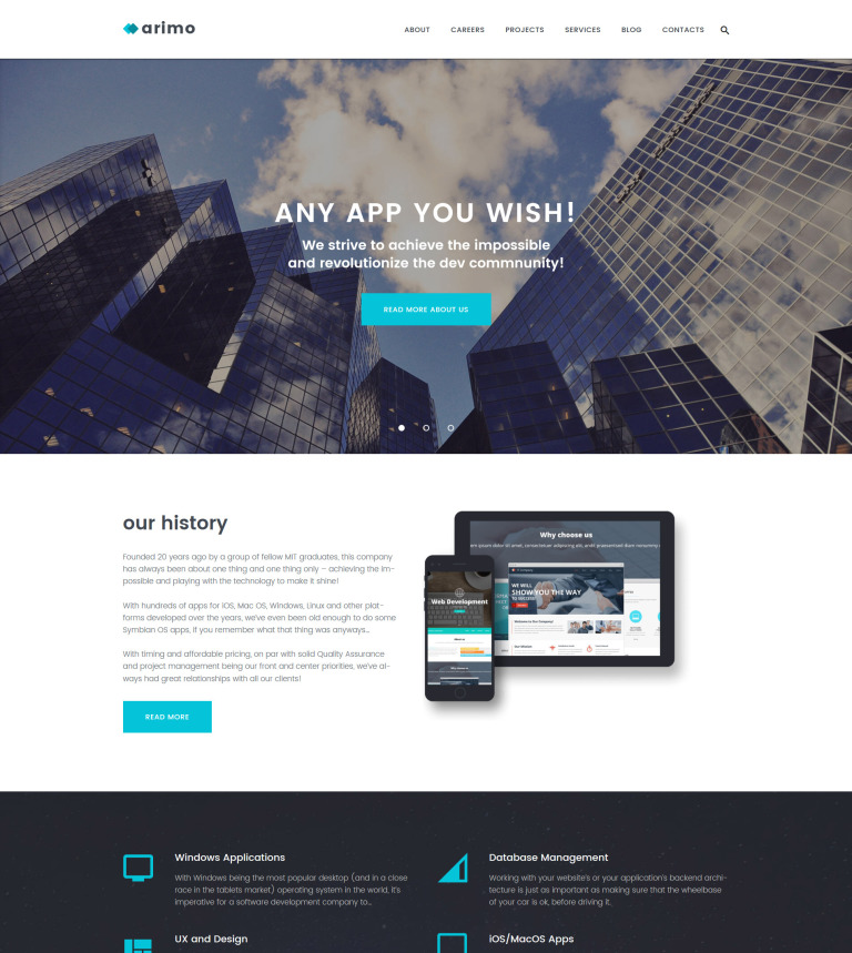 Arimo - Software and App Development WordPress Theme