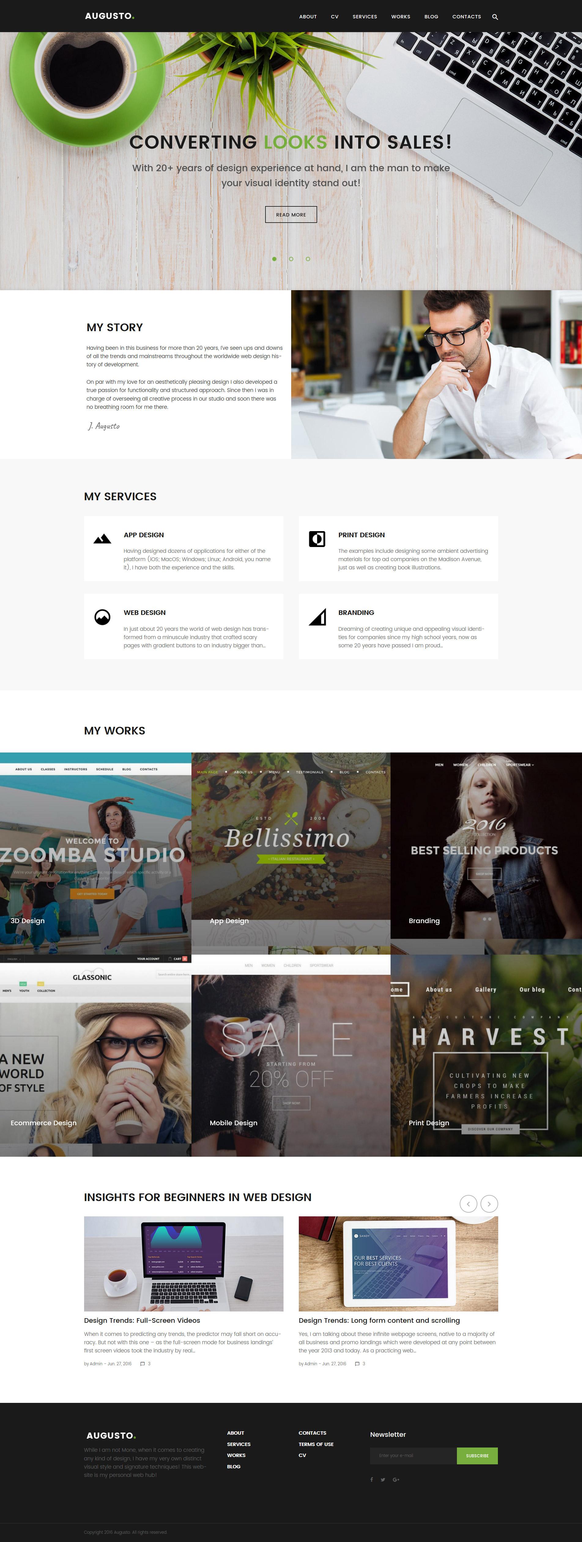 Augusto - адаптивная Wordpress тема для портфолио дизайнера №62113 - скриншот