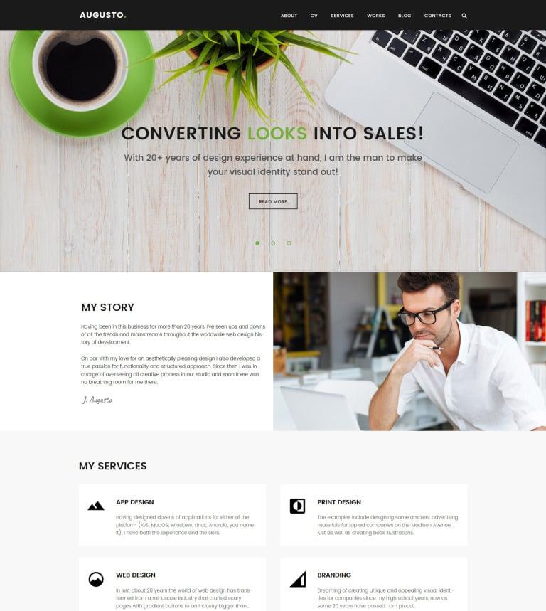 Designer portfolio wordpress theme augusto freelance designer web design wordpress theme new screenshots big maxwellsz