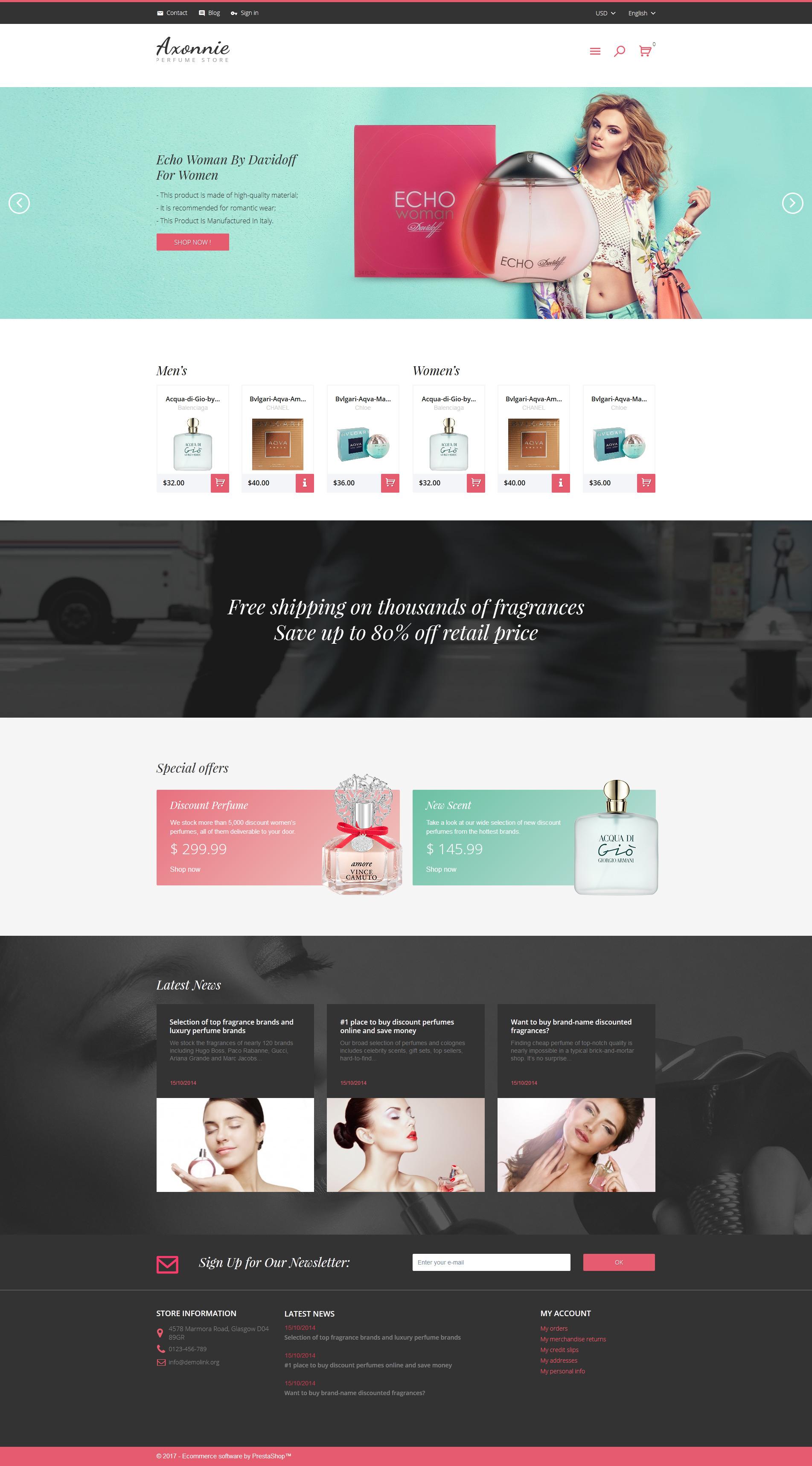 Axonnie - Perfume Store PrestaShop Theme - screenshot