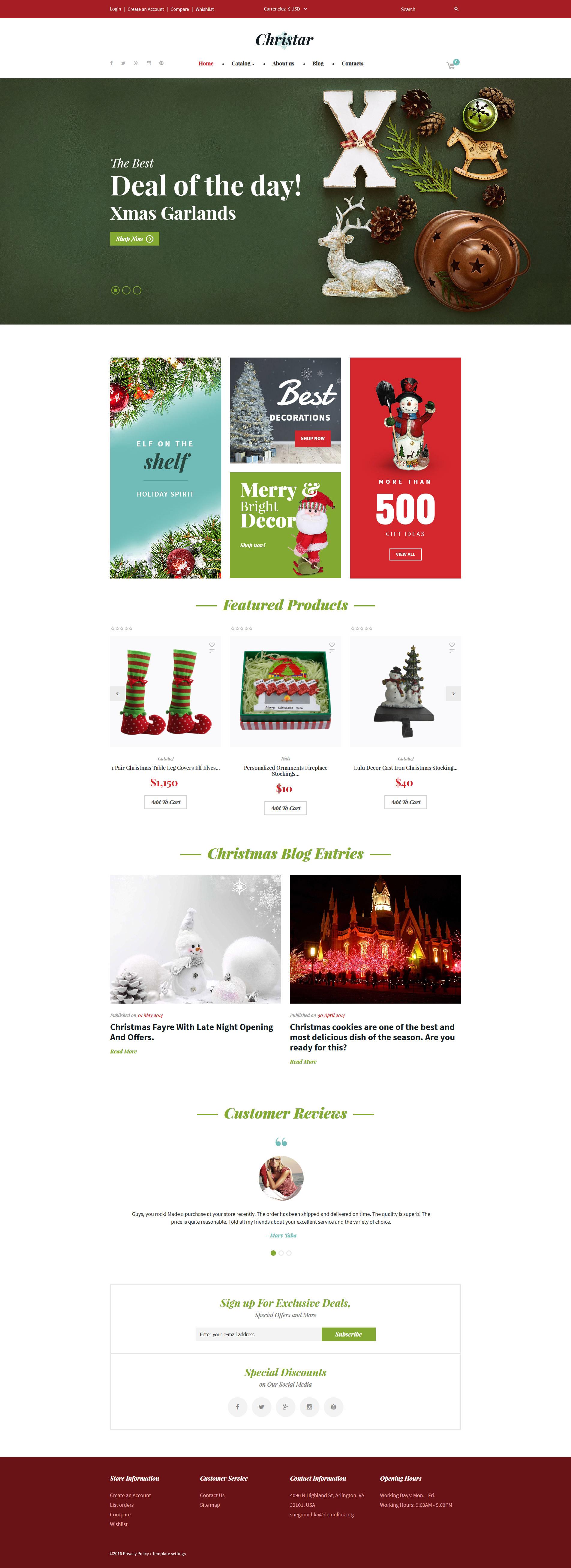 Christmas VirtueMart Template - screenshot