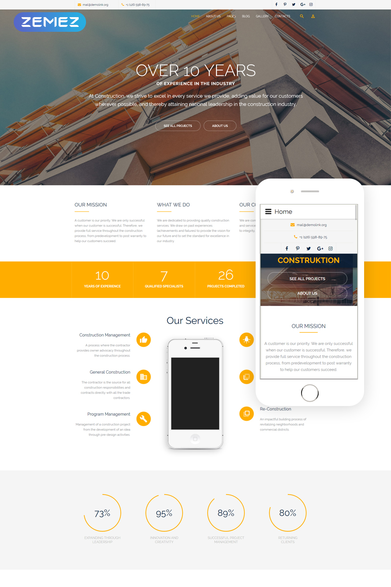 Construction Company Responsive Joomla Template - screenshot