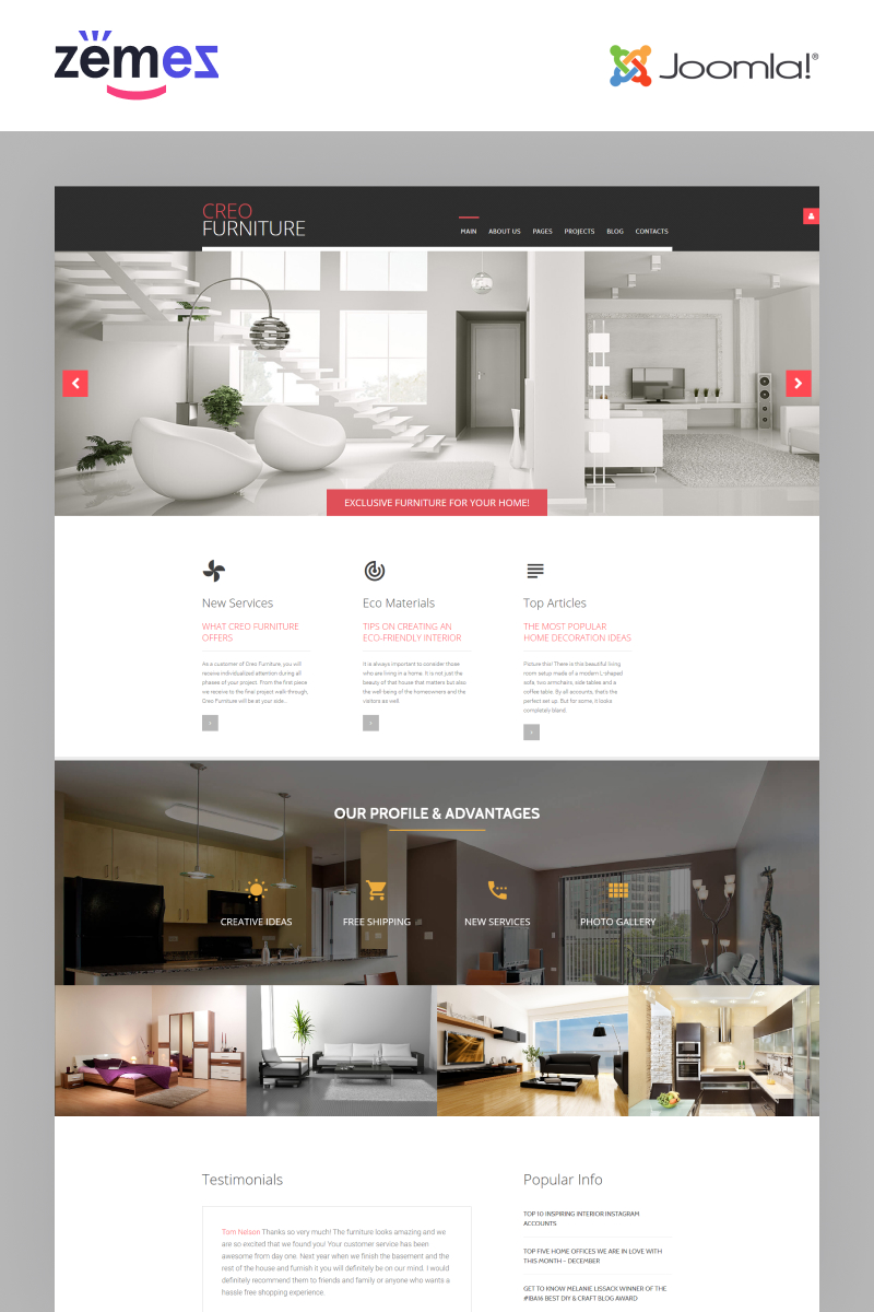 """Creo Furniture - Furniture Multipage Creative"" - адаптивний Joomla шаблон №62149"
