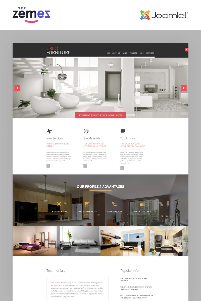 """Creo Furniture - Furniture Multipage Creative"" Responsive Joomla Template №62149"
