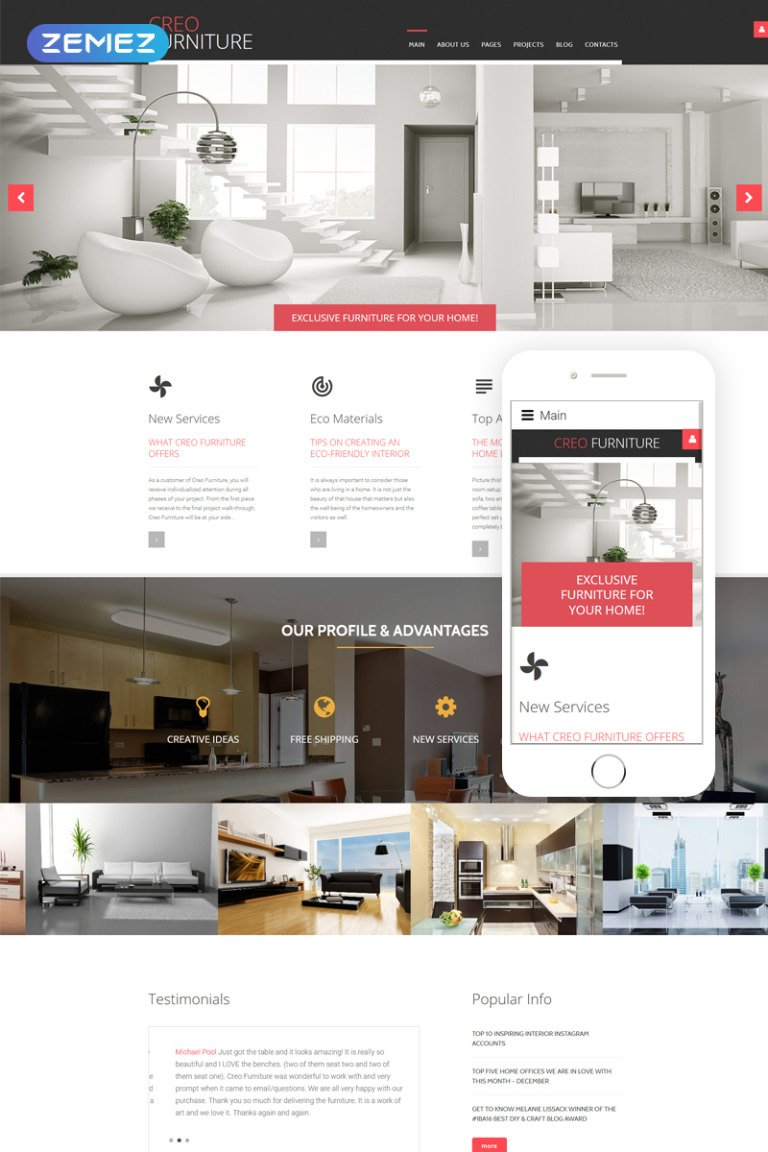 CreoFurniture - Exclusive Furniture Responsive Joomla Template New Screenshots BIG