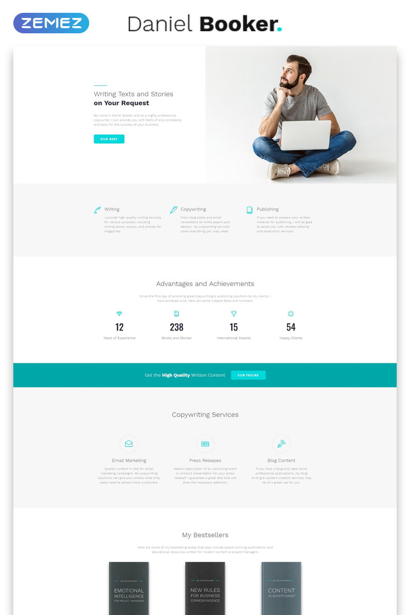 Daniel Booker - Elegant Personal Page Multipage HTML Website Template