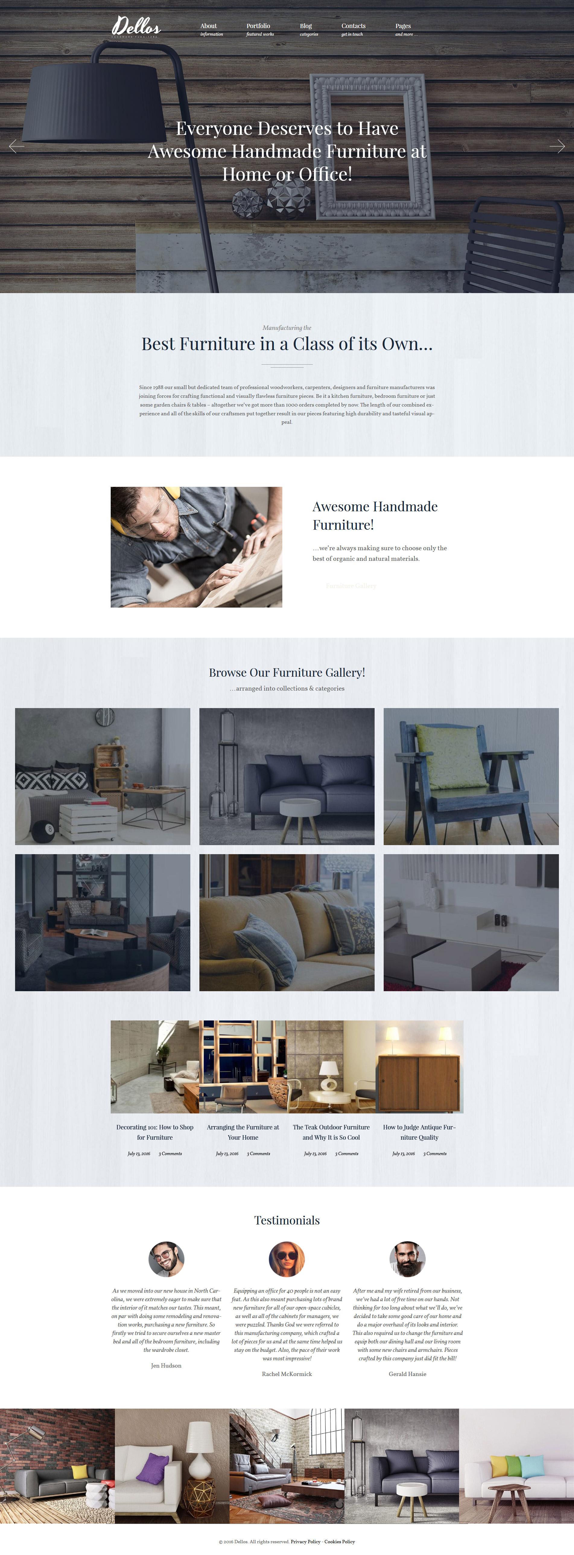 Dellos - Handmade Furniture & Interior Responsive WordPress Theme