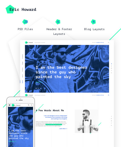 Eric Howard - Web Designer Portfolio Multipage Website Template