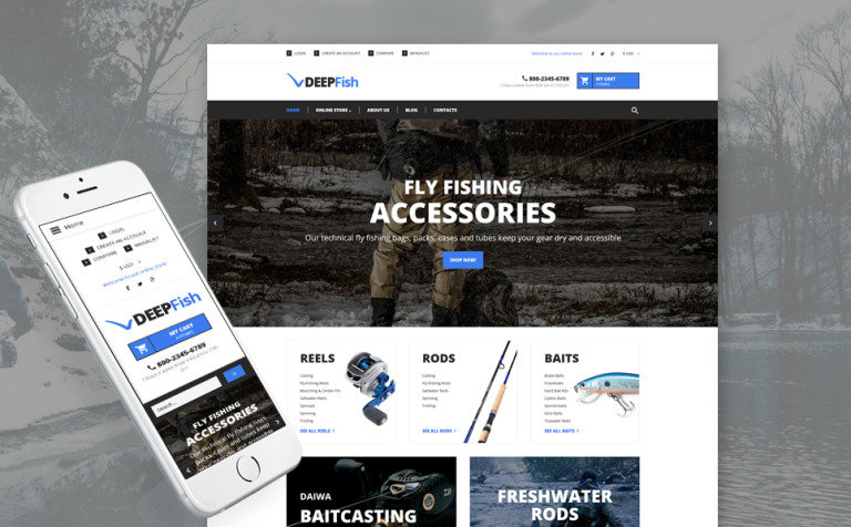 Fishing Responsive VirtueMart Template #62170