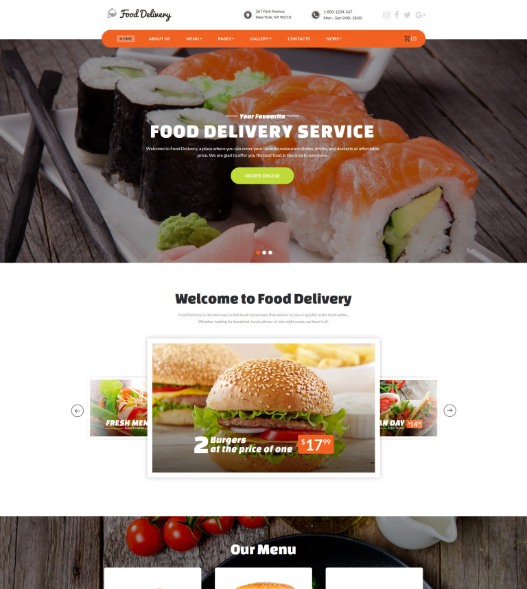 Food Ordering Service Website Template