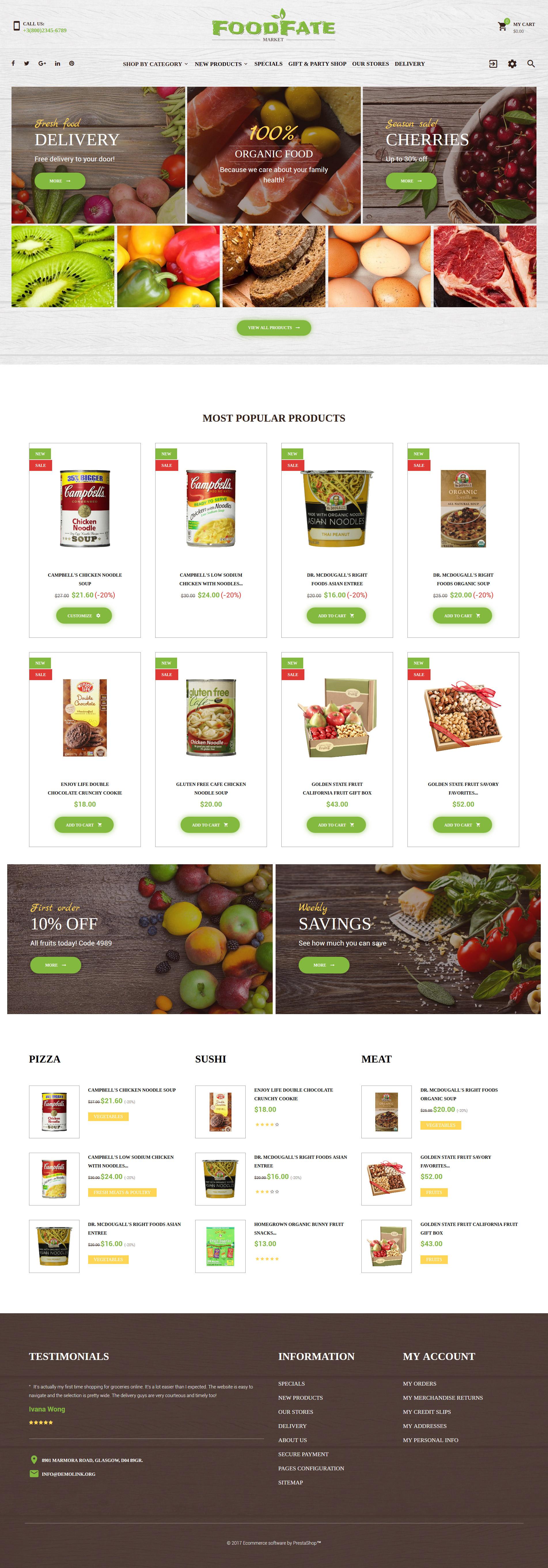 FoodFate - Food Store PrestaShop Theme - screenshot