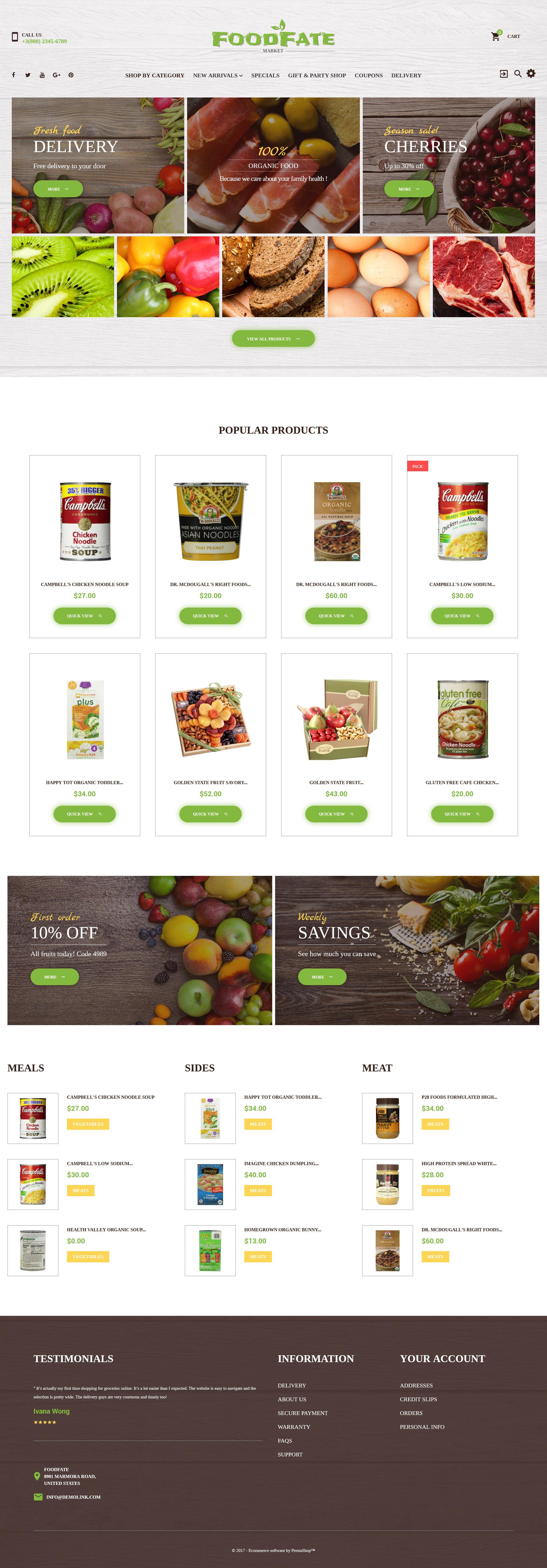 FoodFate - Supermarket PrestaShop Theme - screenshot