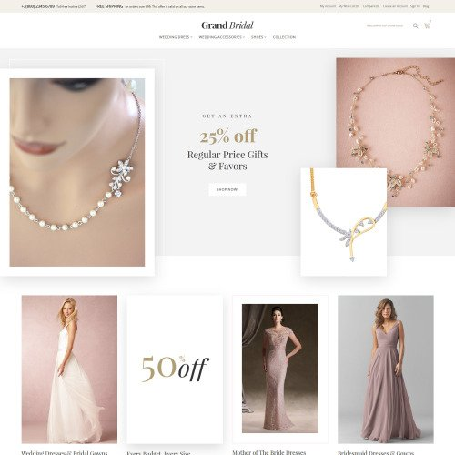 Grand Bridal - HTML5 Magento Wedding Template