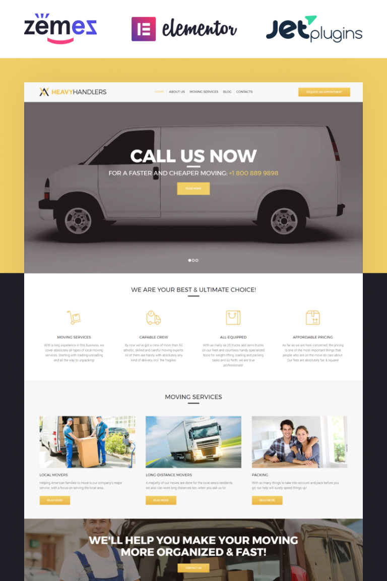 Heavy Handlers - Transportation & Moving Company WordPress Theme New Screenshots BIG