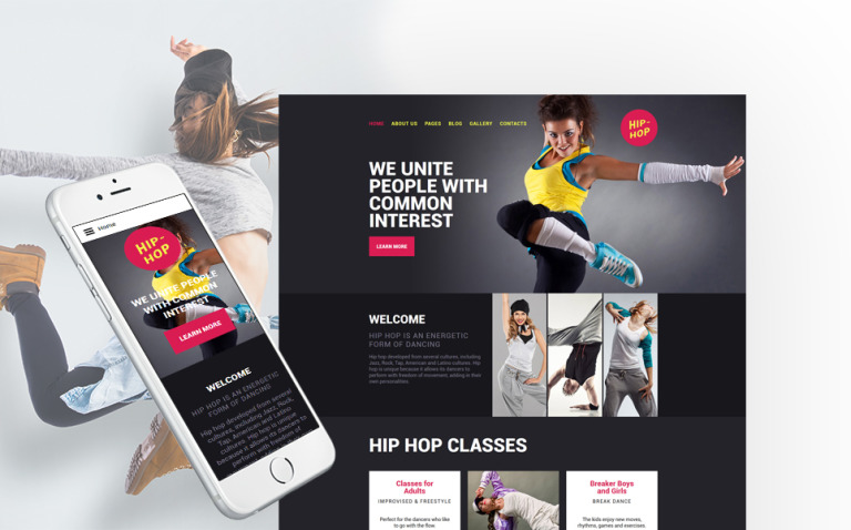 Hip-Hop - Dance Studio Responsive Joomla Template New Screenshots BIG