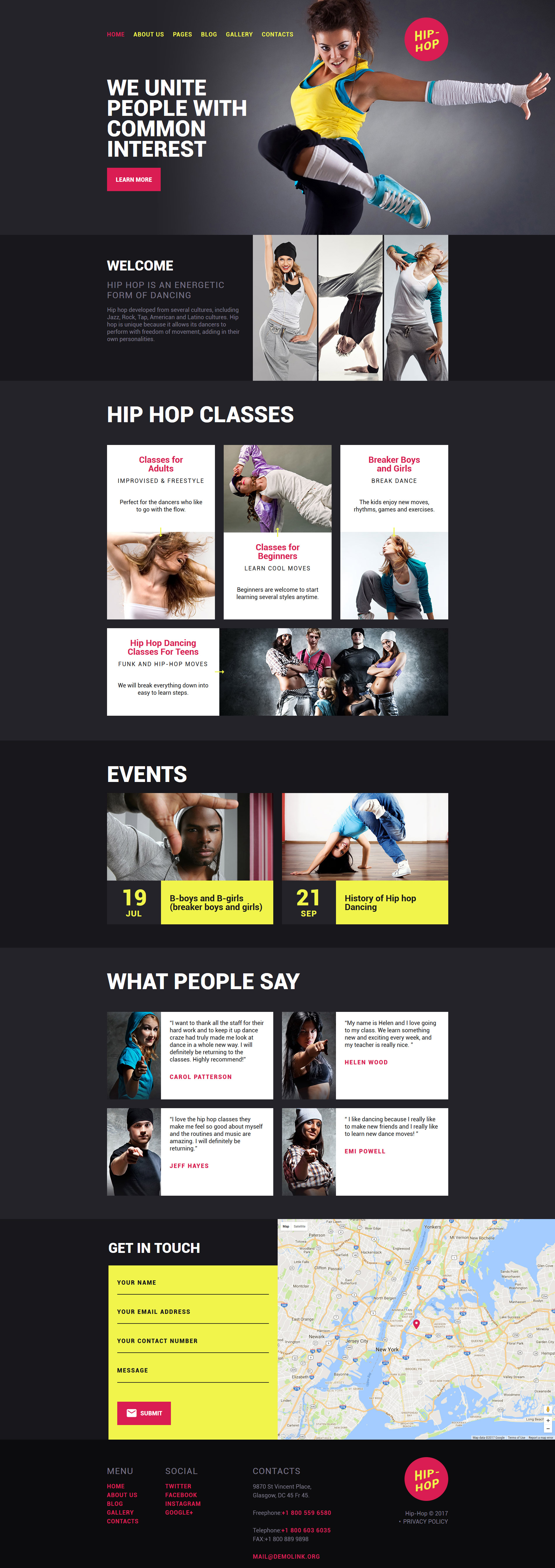 Hip-Hop - Dance Studio Responsive Joomla Template - screenshot