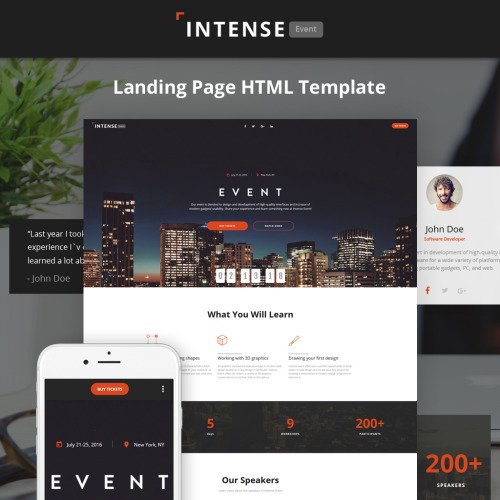 Intense - Event Planner HTML5 - Landing Page Template based on Bootstrap