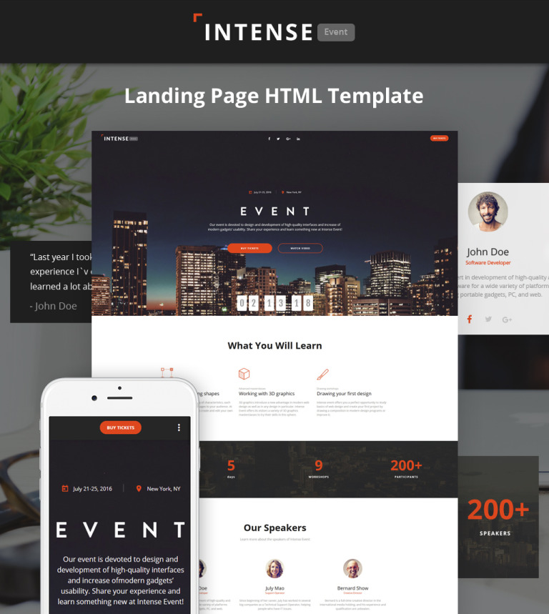 Event planner html5 template intense event planner html5 landing page template new screenshots big pronofoot35fo Image collections