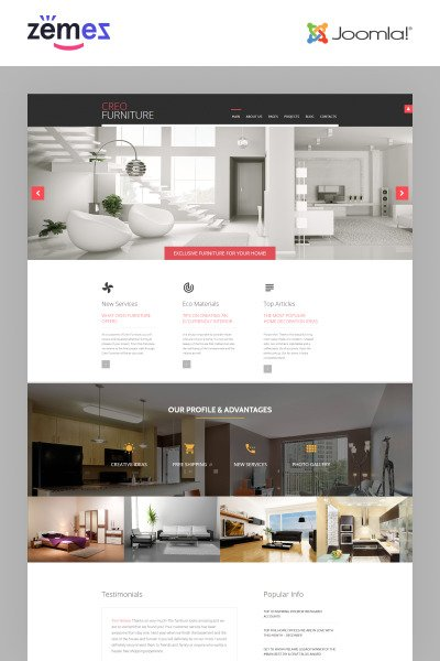 "Joomla шаблон ""CreoFurniture - Exclusive Furniture Responsive"" #62149"