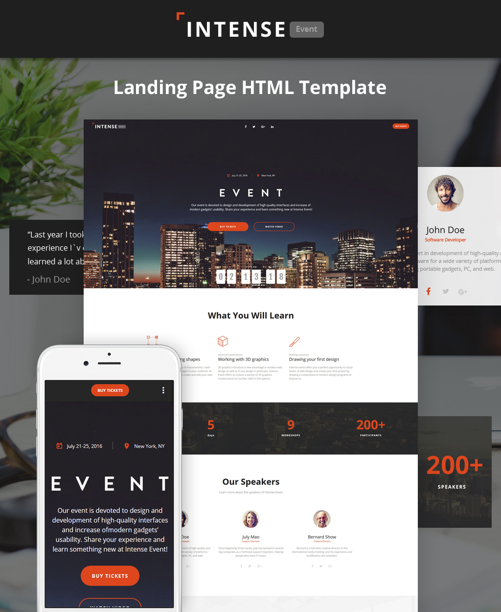 """Landing Page Template namens """"Intense - Event Planner HTML5"""" #62198"""