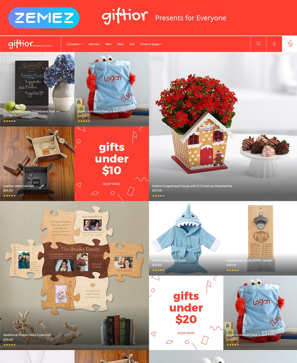 "Magento Theme namens ""Giftior - Gifts Store"" #62106"