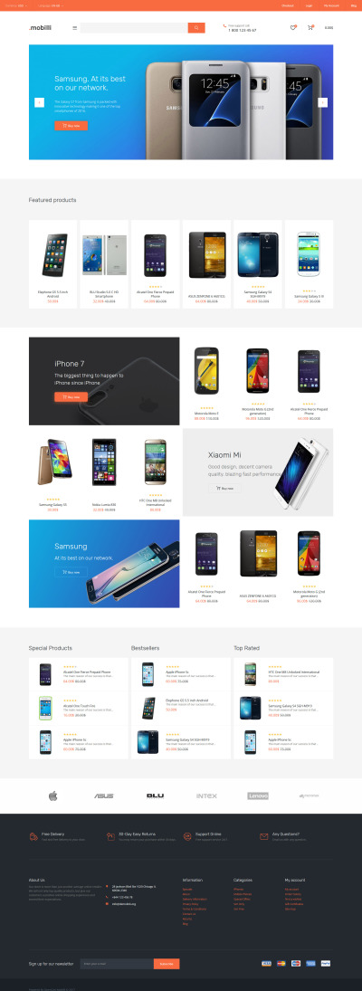 Mobile Store Responsive OpenCart Template #62184